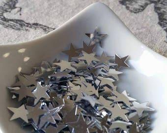 Glitter / confetti stars silver 10 mm in diameter