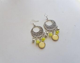 Yellow boho chic earrings