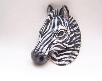 Molded of cold porcelain Zebra bust