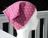 Turban bonnet béret chapeau chimio enfant lin'eva en jersey rose et gris