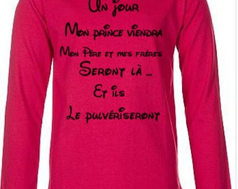 Red T-shirt with long sleeves for girls
