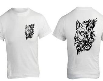 t-shirt with a tribal Wolf head to customize