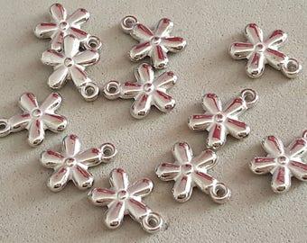 25 silver tone beads acrylic ccb 14 x 10 mm flowers