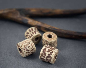 4 pcs - raw Ceramic tube beads • Earth brown rust • 10mm x 9mm