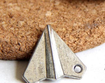 Set 3, charm pendant origami plane - silver - 18 x 17 x 3 mm