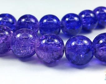 Purple: 12 cracked beads 10mm (pv561)
