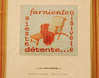 """Vintage """"Chile"""" MB3Z poster vintage embroidery farniento siste relaxation poster counted stitch chart"""