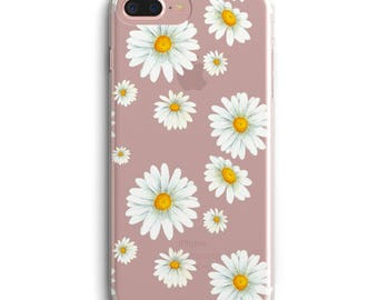 iPhone case, Daisy phone case, Floral iPhone 6 case, iPhone 6 + case, iPhone 7 case, iPhone 7 plus, transparent phone case, iPhone 5 flower