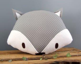 Grey Fox decorative pillow with polka dots