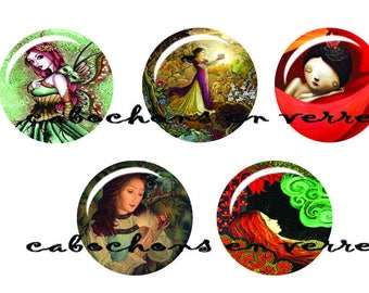5 cabochons 25 mm glass ready to stick Fantaisie1
