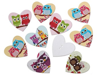set of 5 wood OWL Nature 3.5x3.3cm buttons