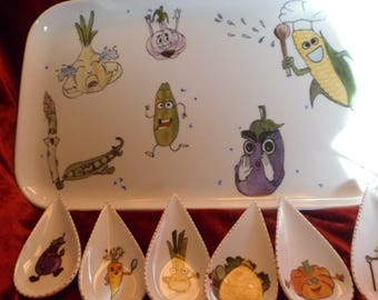 serving dish and its pattern vegetables appetizers