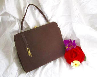 50s Purse Handbag Brown Wool Gold Tone Clasp Swing Rockabilly Wrist Strap Large Vintage Celestial by Markay