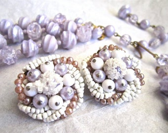 50-60s Lavender Purple Earrings White Beads Clip On Japan, Necklace Sold Separately