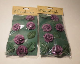 SET OF 2 GARLANDS OF FLOWERS PURPLE