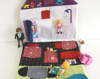 Game carpet for child: House doll, princess or playmobil nomad and his small travel bag