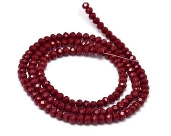 Wire 145 faceted dark red opaque glass, 4x3mm rondelle donuts - BC-12