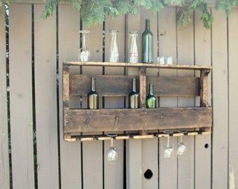 Housewarming Gift, Pallet Wine Rack, Wine Rack, Unique Wine Rack, Wedding Gift, Rustic Shelf, Wine Shelf, Wine, Wall Decor, Home Decor