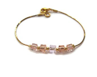 Transparent pink orange beads and serpentine chain bracelet