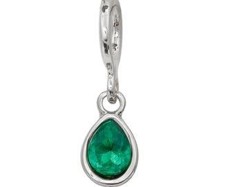 3 charms/trinkets drops water green rhinestones