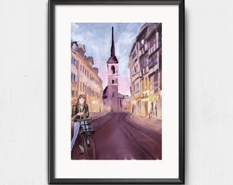 Abstract illustration Erfurt art print A4