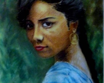 Pastel on paper of a portrait
