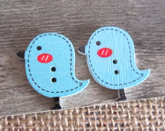 5 buttons 26x24MM wooden bird shaped blue x