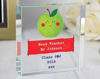 Personalised Happy Apple Teacher Large Crystal Token