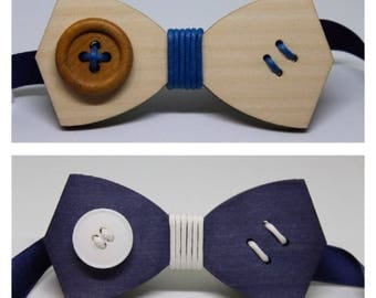 Wooden bow tie with button
