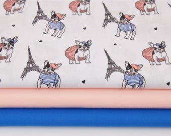 New, 100% cotton fabric printed Eiffel Tower and Bulldogs