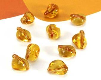 Set of 10 beans coffee amber Murano beads - 8 * 6 mm