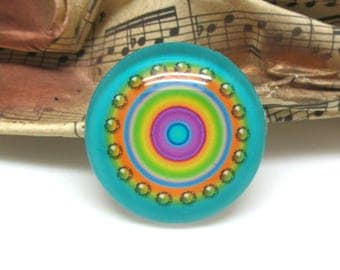2 cabochons 16 mm glass round candy blue - 16 mm