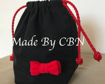 Pouch / purse in cotton denim with red DrawString ties satin & red on the front bow.
