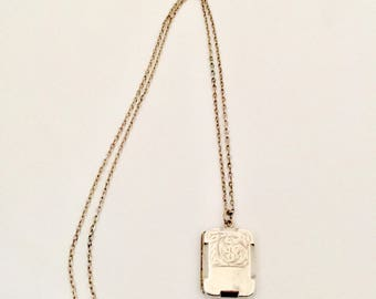 Locket/ Antique Silver Locket and Silver Chain.