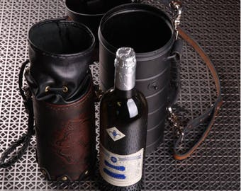 Wine Cannister and Leather Satchel.