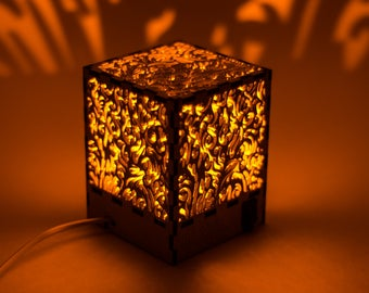 """Decorative cube lamp with """"Flames"""" pattern/Shadow lamp/Laser cut/Wooden lamp/Silhouette lamp/Night lamp/Plywood lamp/Eco-friendly lamp"""