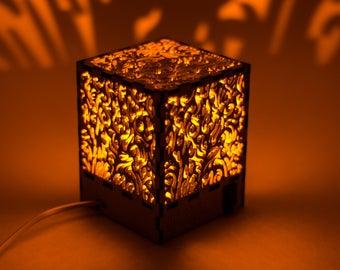 Fire Decorative lamp/ shadow lamp/ laser cut lamp/ table lamp/ wooden lamp