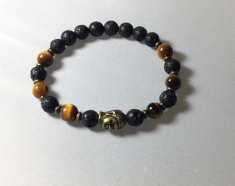 Elastic mens bracelet, bronze Buddha, gemstones and black tones