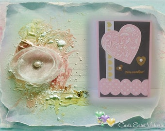Love - Heart in pink and gold
