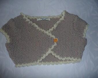12-18 months short jacket sleeves short handmade knit linen and ecru