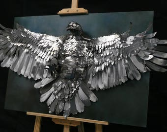 Metal Bird of Prey wall sculpture