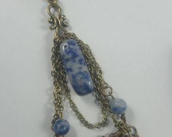 Large pendant bronze metal in SODALITE beads