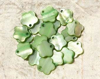 10pc - mother of Pearl flower 15mm Green 4558550018441 charms