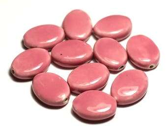 Pink coral peach - 8741140017566 4pc - ceramic porcelain oval 20-22mm beads