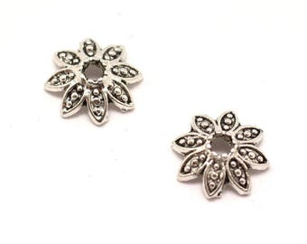 40pc - earring findings silver Metal flowers dots 8x3mm cups - 8741140001855
