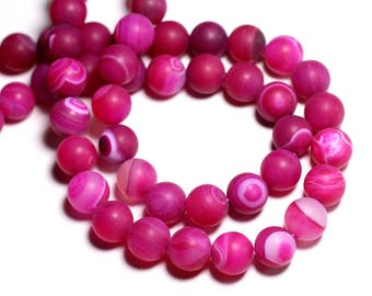 4pc - stone beads - Agate pink matte balls 12 mm - 8741140000544