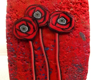 Red poppies: cabochon for creations.