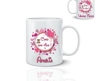 Birthstone personalized girl - ceramic mug mug 325 ml