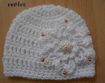 White flower wool hat, crochet baby 0.3.6.9.12mois