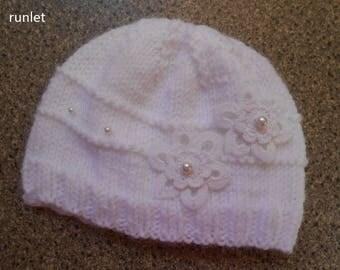 Hat, flower for baby baptism. MADE IN FRANCE 0.1.3.6.mois